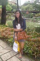 brown rubi bag - white Kamiseta top - navy Zara skirt - silver Lovisa earrings