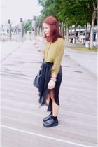 black skirt - black shoes - black Aldo bag - olive green blouse