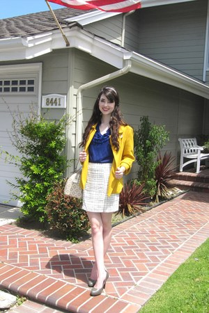 yellow wool Forever 21 jacket - ivory barrel coach purse - navy anne taylor loft