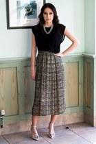 thrifted vintage skirt - FAZANE MALIK dress - Zara heels