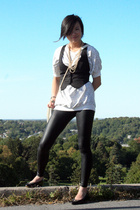 vintage top - H&M vest - American Apparel pants - vintage shoes