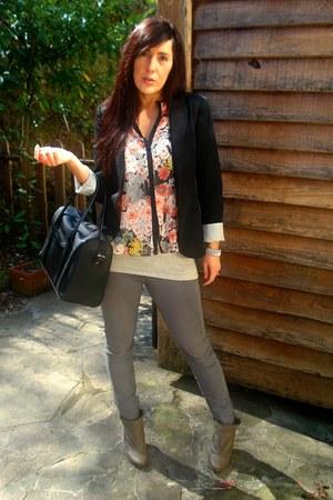 pull&bear shirt - heather gray pull&bear jeans - black Bershka blazer