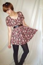 vintage dress - vintage belt - Nine West boots