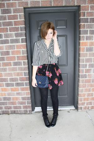 black vintage shirt - pink Forever 21 skirt - blue vintage purse - Forever 21 sh
