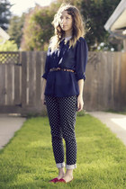 navy J Crew pants - black Marc by Marc Jacobs bag - hot pink vintage flats