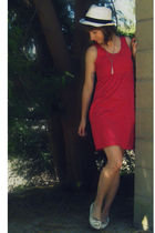 white crossroads hat - red self-made dress - white Classified shoes - beige moms