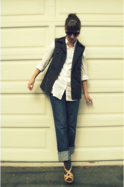 black diy sleeveless trench vest - white New York & Co shirt - blue thrifted fro