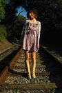Gray-pretty-mama-cardigan-purple-new-deal-dress-beige-aldo-boots