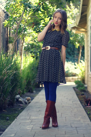 black Cotton Candy dress - tawny Wolverine boots - blue HUE tights