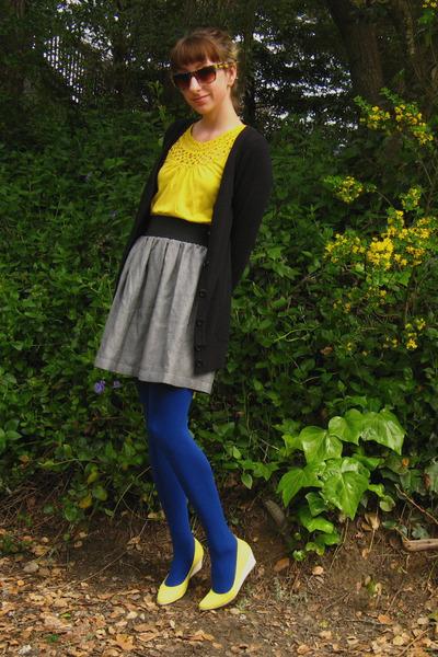 black tresics cardigan - yellow Forever 21 top - gray self-made skirt - blue HUE