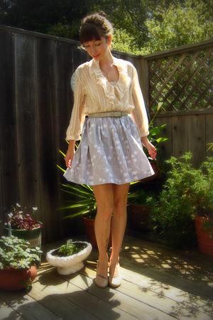 beige Charlotte Russe blouse - beige Steve Madden shoes - gray self-made skirt