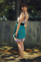 purple new deal dress - green Self Made skirt - black thrifted from Crossroads b
