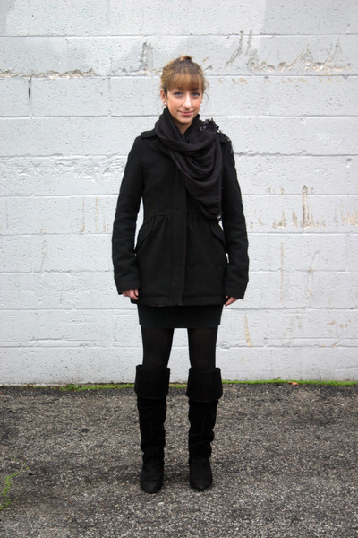 black Billabong coat - black Ross boots - black Forever 21 dress