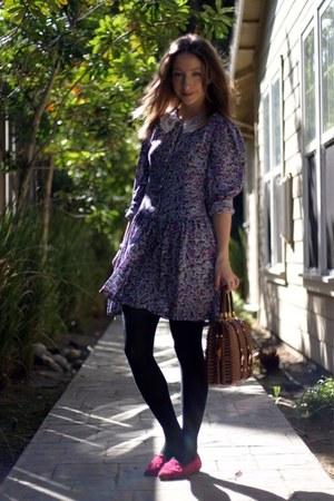 hot pink vintage shoes - amethyst thrifted vintage dress - brown vintage bag