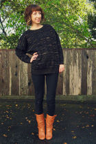 black thrifted from Crossroads sweater - black Wet Seal jeans - orange Steve Mad