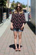 hot pink H&M sandals - silver H&M bag - black second hand blouse