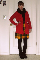 red thrifted from Crossroads cardigan - yellow self-made skirt - black self-made