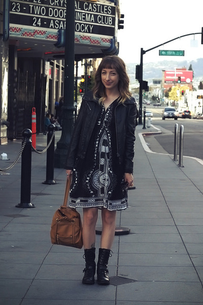 black Macys boots - black Secondhand dress - burnt orange Secondhand bag