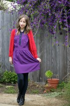 purple unknown dress - black Wet Seal boots - red Old Navy cardigan