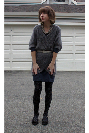 gray H&M cardigan - blue sel dress - black Payless shoes - gray thrifted belt -