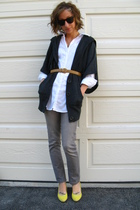 gray Forever 21 cardigan - white New York & Co shirt - gray Wet Seal jeans - gol