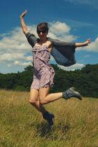 gray H&M cardigan - gray Journeys boots - purple new deal dress