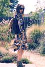 Heather-gray-mossimo-boots-purple-vintage-dress-dark-brown-second-hand-bag