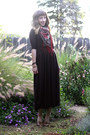 Dark-brown-handmade-dress-brick-red-h-m-scarf