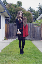 red Lulus jacket - black DIY dress - gold izzy  alli bag