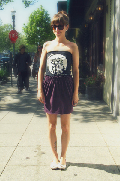 black DIY top - purple self-made skirt - white Classified shoes