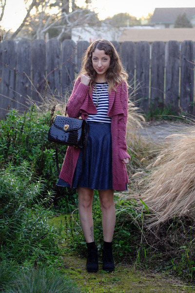 pink crossroads sweater - black vintage bag - navy DIY skirt