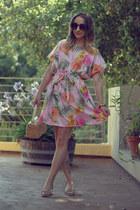 pink DIY dress - peach vintage bag