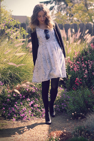 black Target tights - white handmade dress - black Payless pumps