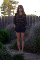 navy BDG shorts - brown Forever 21 top - yellow Lulu Guinness wedges