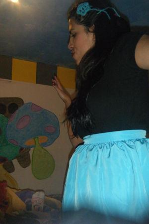 blue skirt - black t-shirt - blue accessories