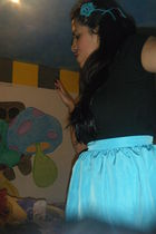 blue skirt - black t-shirt - blue accessories