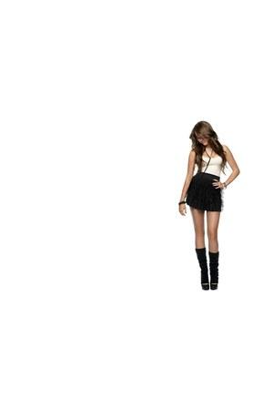 skirt - boots - top - bracelet