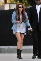 denim top - boots - shirt - shorts - sunglasses