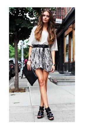 black gladiator wedges - floral skirt
