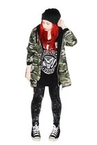 camo sammydress jacket - black and white ramones shirt