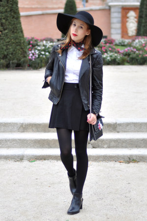 black floppy H&M hat - black leather asos jacket - white asos shirt
