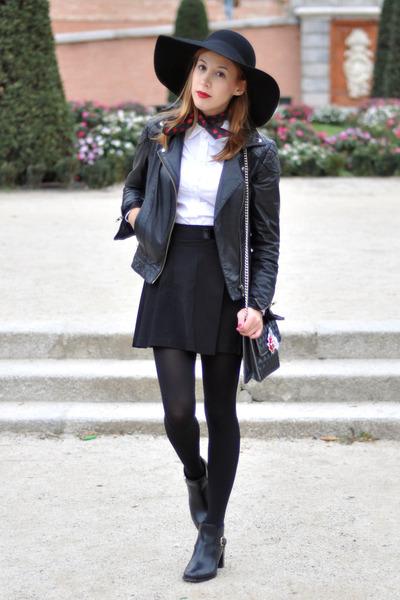 black floppy H M hat - black leather asos jacket - white asos shirt a975ef6f786