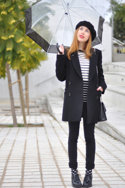 black Sonia by Sonia Rykiel coat - black beret American Apparel hat