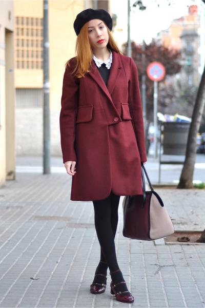 black collar asos dress - brick red Sonia by Sonia Rykiel coat