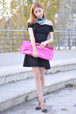 hot pink candy clutch Margiela for H&M bag - black inlovewithfashion dress