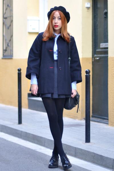 black Topshop shoes - navy cape El Ganso coat - black beret American Apparel hat