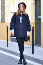 black Topshop shoes - navy cape El Ganso coat - black beret American Apparel hat