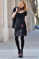 black polka dot Miu Miu scarf - black asos bodysuit