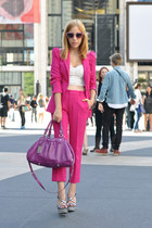 magenta Marc by Marc Jacobs bag - bubble gum glitter cateye Miu Miu sunglasses