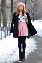 bubble gum pleated Zara skirt - black ASH boots
